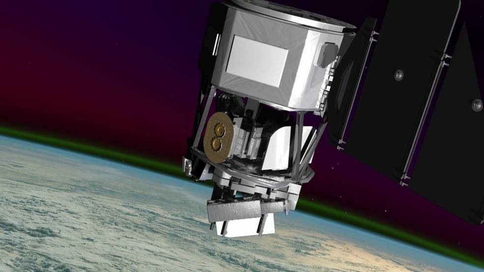 An artist concept of NASA's Ionospheric Connection Explorer. The spacecraft will observe colorful swaths of light called airglow to track how Earth's weather and space weather interact.