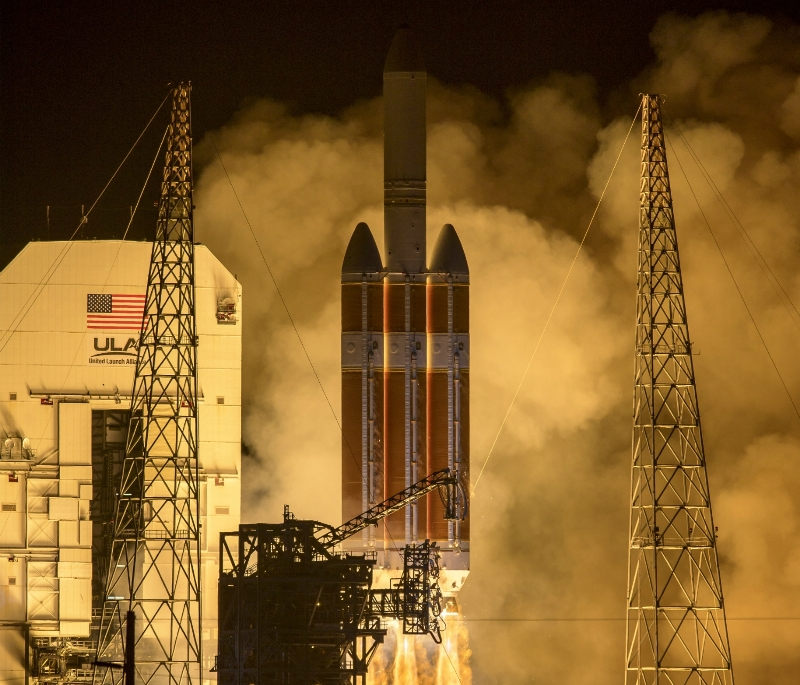 The United launch Alliance Delta IV Heavy rocket launches NASA's Parker Solar Probe from Launch Complex 37 at Cape Canaveral Air Force Station, Florida. Credit: NASA